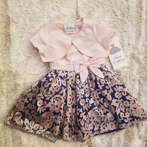 BEAUTIFUL!! Rare Editions GIRLS Solid/Floral Dress
